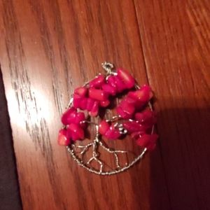 Handcrafted Red Coral Tree of Life Pendant